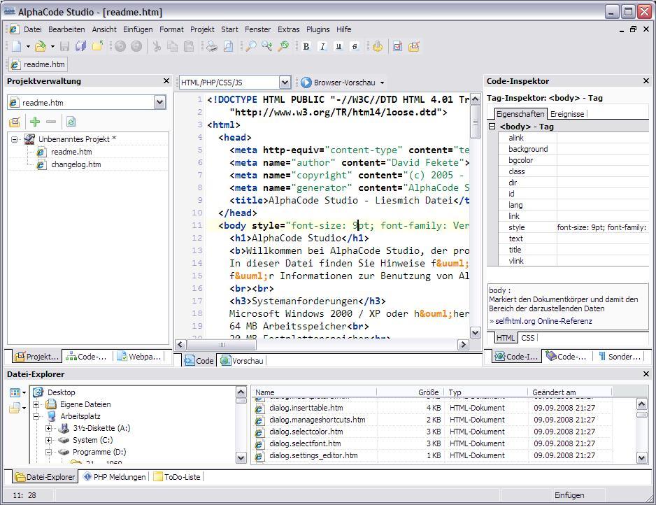 Screenshot für AlphaCode Studio